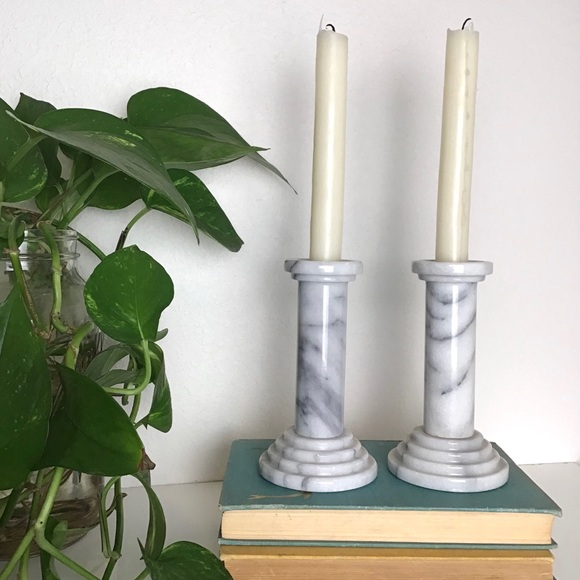 Vintage Marble Candlestick Holders